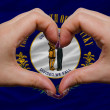 Over american state flag of kentucky showed heart and love gestu — Stock Photo
