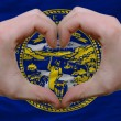 Over american state flag of nebraska showed heart and love gestu - Stockfoto