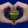 Over americstate flag of pennsylvanishowed heart and love g — Stock Photo #9013312