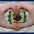 Stock Photo: Over americstate flag of west virginishowed heart and love
