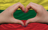 Over national flag of lithuania showed heart and love gesture ma — Stock Photo