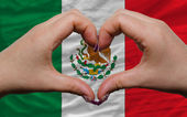 Over national flag of mexico showed heart and love gesture made — Stock Photo
