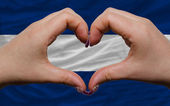 Over national flag of nicaragua showed heart and love gesture ma — Stock Photo