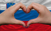 Over national flag of slovenia showed heart and love gesture mad — Stock Photo