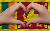 über flagge srilanka zeigte herz und liebe geste sauer — Stockfoto