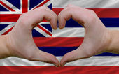 Over american state flag of hawaii showed heart and love gesture — Stock Photo