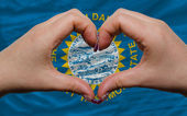 Over american state flag of south dakota showed heart and love g — Stock Photo