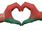 Heart and love gesture in belarus flag colors by hands isolated — Стоковое фото