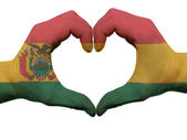 Heart and love gesture in bolivia flag colors by hands isolated — Stock Photo