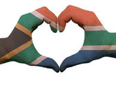 Heart and love gesture in south africa flag colors by hands isol — Stock Photo