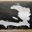 Outline map of haiti on blackboard — 图库照片