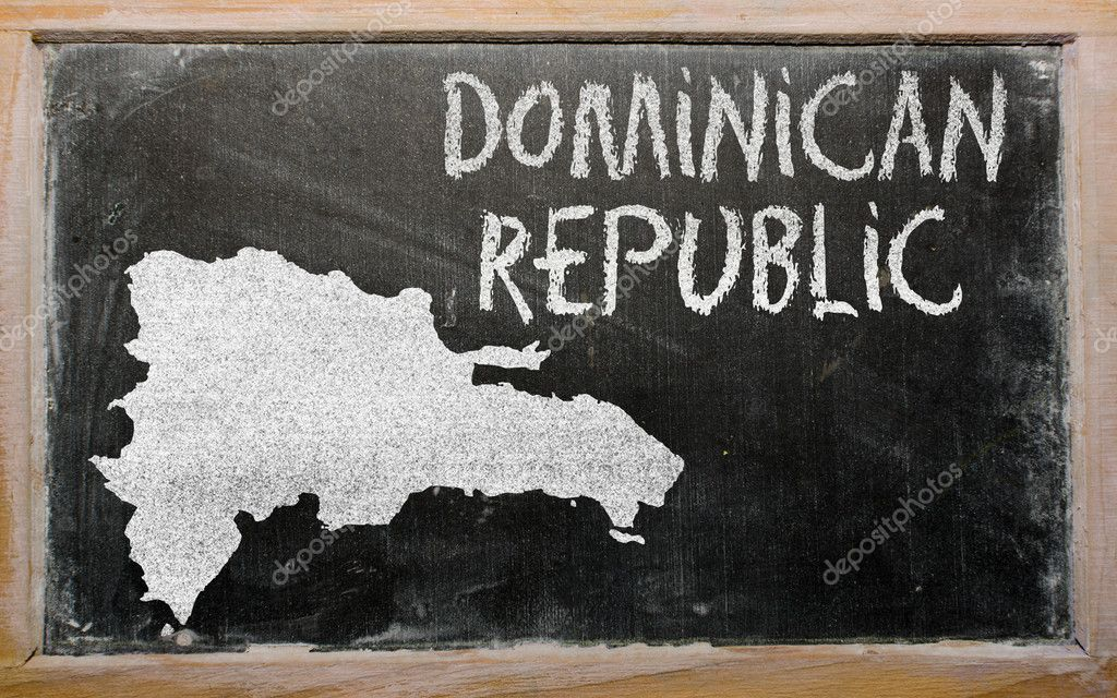 Drawing of dominican republic on blackboard, drawn by chalk — Stock Photo #9155517