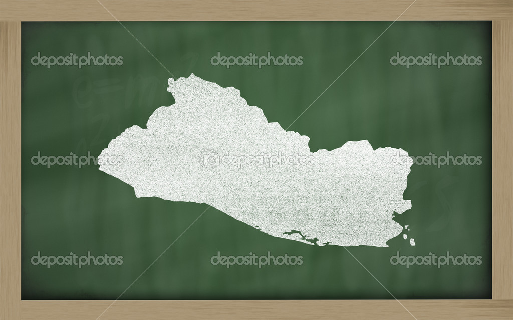Drawing of el salvador on blackboard, drawn by chalk — Zdjęcie stockowe #9156139
