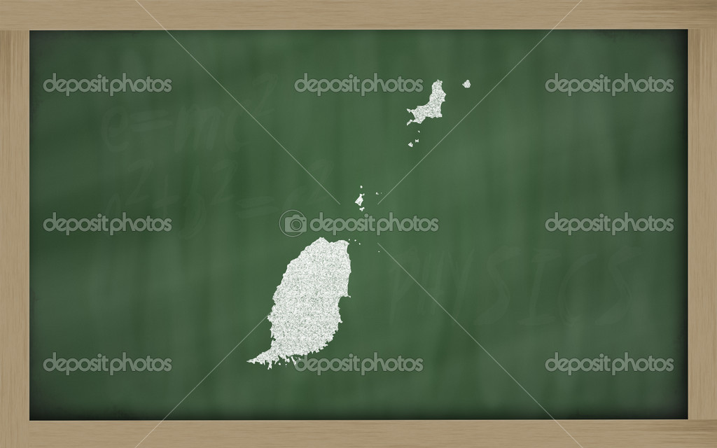 Drawing of grenada on blackboard, drawn by chalk  Stock Photo #9156173