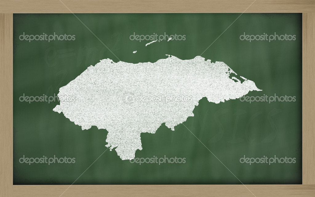Drawing of honduras on blackboard, drawn by chalk  Stock Photo #9156240