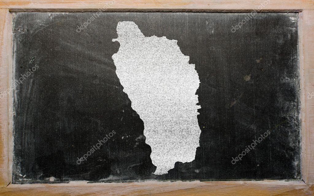 Drawing of dominica on blackboard, drawn by chalk — Stock Photo #9156625