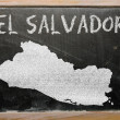 Outline map of el salvador on blackboard — Zdjęcie stockowe