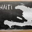 Outline map of haiti on blackboard — Stok fotoğraf