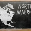 Outline map of north america on blackboard — Stock Photo