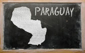 Outline map of paraguay on blackboard — Stock Photo