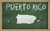 Outline map of puerto rico on blackboard — Stock Photo