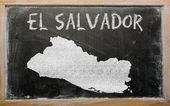 Outline map of el salvador on blackboard — Stok fotoğraf