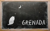 Outline map of grenada on blackboard — Stok fotoğraf
