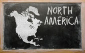 Osnovy mapa severní ameriky na tabuli — Stock fotografie