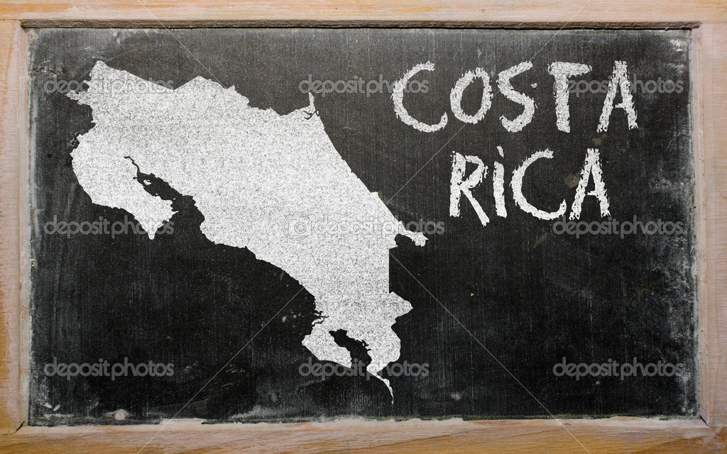 Drawing of costarica on blackboard, drawn by chalk — Stock Photo #9188402