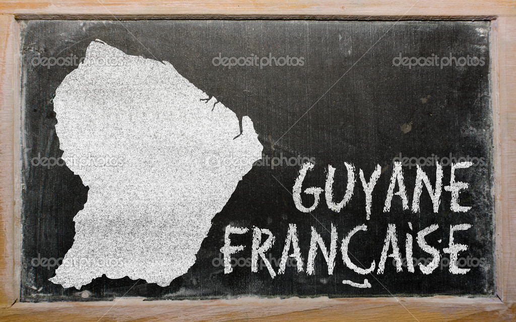 Drawing of french guiana on blackboard, drawn by chalk — Stock Photo #9189976