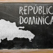 Outline map of dominican on blackboard — Stock Photo