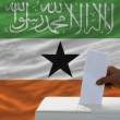 Man voting on elections in front of national flag of somaliland - Stock Photo
