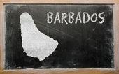 Mapa de contorno de barbados no quadro-negro — Foto Stock