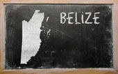 Outline map of belize on blackboard — Stok fotoğraf
