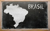 Outline map of brazil on blackboard — Stok fotoğraf