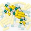 Outline map of costa rica with pills in the background for healt — Stock Photo