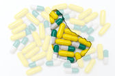 Outline map of barbados with pills in the background for health — Stock Photo