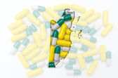 Outline map of belize with pills in the background for health an — Stock Photo