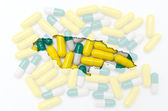 Outline map of jamaica with pills in the background for health a — Stock Photo