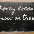 Stock Photo: Expression - Money doesn't grow on trees - written on school