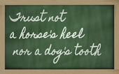 Expression - Trust not a horse's heel nor a dog's tooth - writt — Stok fotoğraf