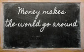Expression - Money makes the world go around - written on a sch — Stock Photo
