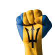 Fist painted in colors of barbados flag — Stock Photo