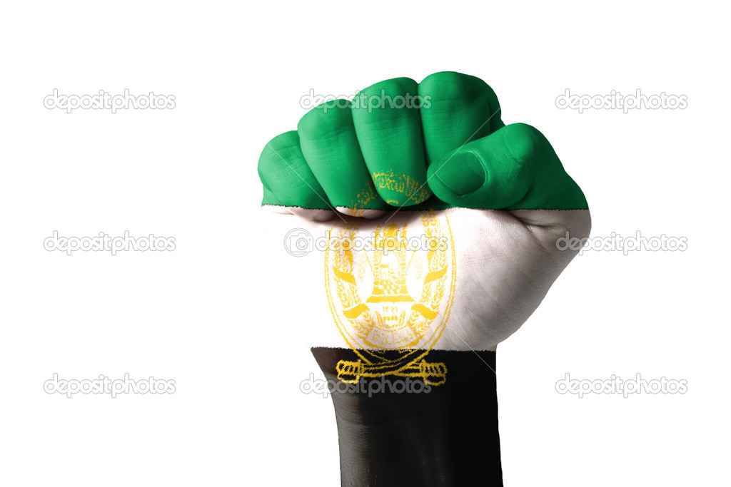 Low key picture of a fist painted in colors of aghanistan flag — Stock Photo #9859704