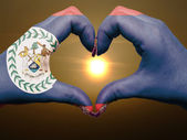 Heart and love gesture by hands colored in belize flag during be — Stock Photo