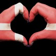 Heart and love gesture by hands colored in denmark flag for tour — Stock Photo #9883112