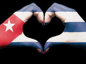 Heart and love gesture by hands colored in cuba flag for tourism — Stock Photo