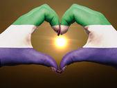シエラレオネの旗長調色の心と愛のジェスチャーの手で — ストック写真