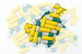 Outline map of borneo with pills in the background for health an — Stock Photo