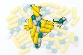 Hindistan Haritası anahat sağlık için arka planda haplarla ve — Stok fotoğraf